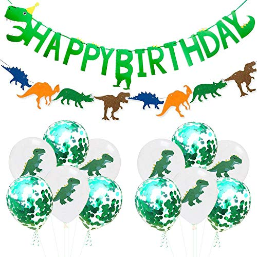 Dinosaur Themed Happy Birthday Banner Party Decorations,Jurassic World Party Supplies Set for Kids Birthday Parties and Baby Shower Dino Birthday Colorful Felt Banner Latex Dinosaur Balloons Photo Pro -