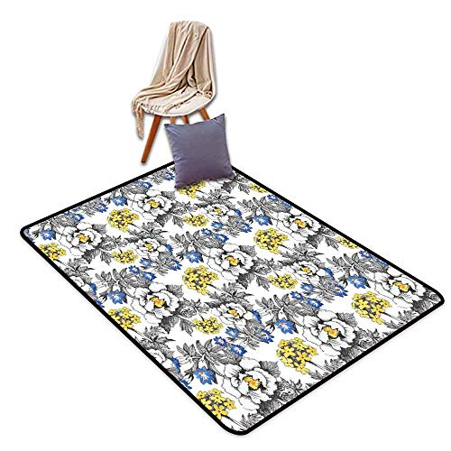 (Bathroom Rug Bath Rug Garden Romantic Peony Hydrangea and Blue Violet Blossoms in Sketch Art Style Breathability W63 xL90.5 Dark Grey Yellow and Blue )