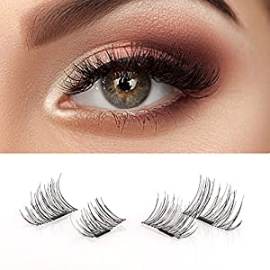 False Magnetic Eyelashes - No Glue Mess-Free Reusable - Beautiful Natural Enhanced Eyes, Volumized Lashes (1 Pair, 4 Pcs)