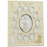 Button Corner Aluminium Photo Frame 'My First Year' New Born Baby CG784