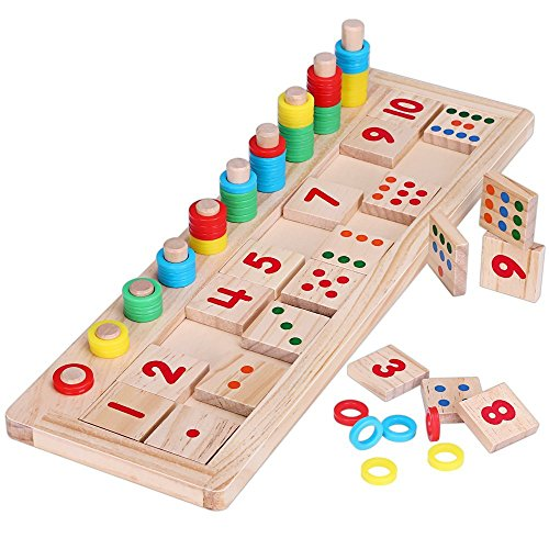 Wooden Montessori Math Toys Teaching Tool Board with Rainbow Ring and Colorful Rods for Preschool Kids
