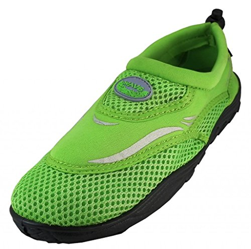 WavePro Women's Water Shoes with Elastic Mesh and Soft Removable Insole, Green, Size 6 (M) US