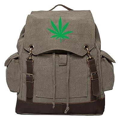 Marijuana Leaf Vintage Canvas Rucksack Backpack with Leather Straps best