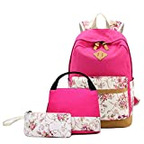 Canvas School Bookbag with Pencil Case,INorton Lightweight Fashion Travel Daypack with Lunch Bag for Girls Teens,Casual Large Capacity College Bookbag for Boys