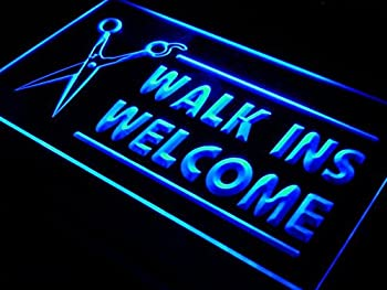 OPEN WALK INS WELCOME Hair Cut LED Sign Neon Light Sign Display i128-b(c)