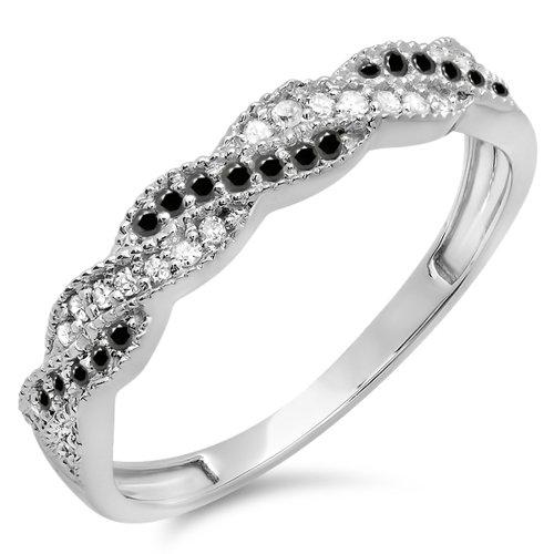 0.25 Carat (ctw) 18k White Gold Round White & Black Diamond Wedding Stackable Swirl Band 1/4 CT (Size 6)