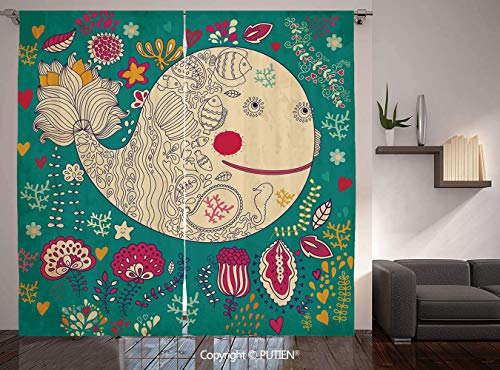 (Thermal Insulated Blackout Window Curtain [ Whale,Happy Giant Sea Ocean Creature Whale with Flower Blooms Tulips Leaves Design Artwork,Multicolor ] for Living Room Bedroom Dorm Room Classroom Kitchen)