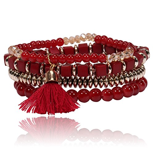 MINGHUA Multilayer Bohemian Beaded Bracelet Crystal Pendant Charm Stretch Beach Bangle Bracelet Set Mix Bangle Set