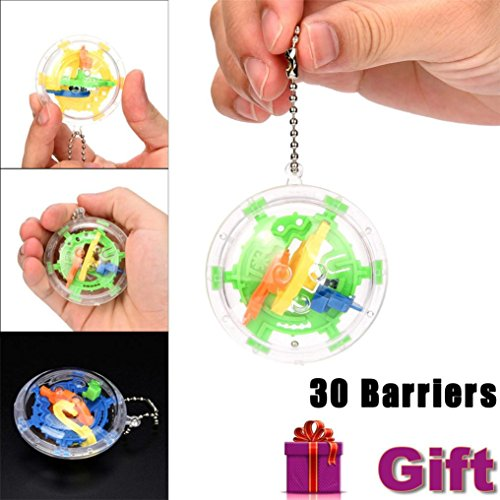Mini Ball Maze Intellect 3d Puzzle Toy Balance Barrier Magic Labyrinth Spherical by CSSD (Multicolor)