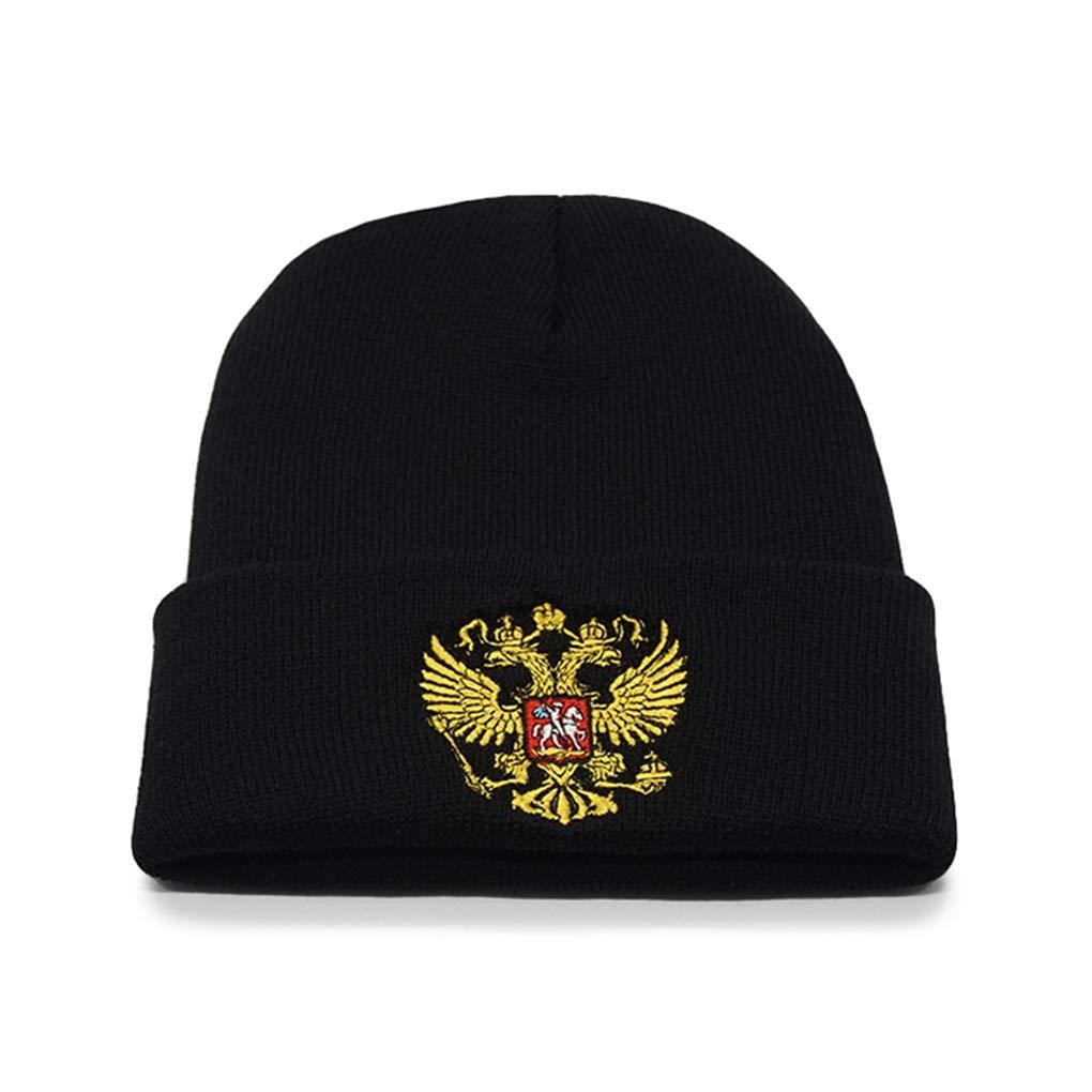 9c5784e384e Winter Hat Men Women Cap Russia Warm Russian Emblem Knitted Hat Skullies  Beanies Black Unisex Casual Beanie Knit at Amazon Women s Clothing store