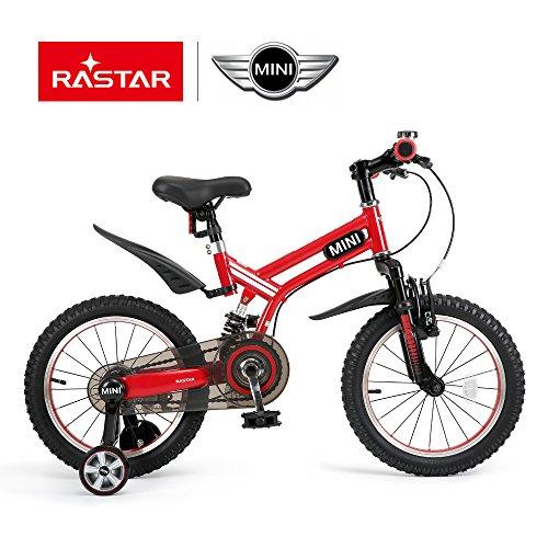 RASTAR Mini Cooper Kid's Bicycle, Kids Bike 16 inch Wheels for Boys Girls, Full Suspension Bike – Red -