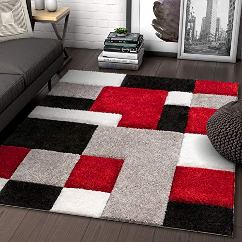Well Woven Ella Red Geometric Boxes Thick Soft Plush 3D Textured Shag Area Rug 5x7 (5'3