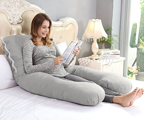 Image of the Ang Qi 55 inch Total Body Pregnancy Pillow with Easy on-off Jersey Cover - U Shaped Maternity Body Pillow - Full Size - Gray