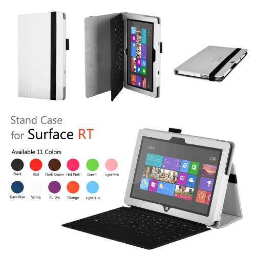 onWay Premium Folio Case Cover with Stand for Microsoft Surface RT 1st/ Surface 2, + Gift: stylus touch pen x1 (Does not fit Windows 8 PRO Version) (White)