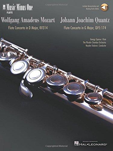 Mozart - Flute Concerto No. 2 in D Major, K. 314; Quantz - Flute Concerto in G Major Music Minus One Flute (Tapa Blanda)