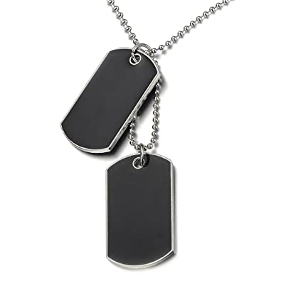 COOLSTEELANDBEYOND Steel Two-pieces Mens Dog Tag Pendant Necklace with Carbon Fiber and 23.6 inches Steel Ball Chain vsnxVOMCXu