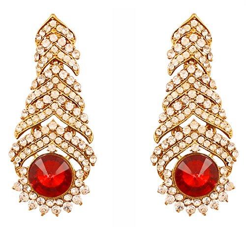 In Faux Touchstone Bollywood Designer Antik Schmuck Kronleuchter Für Rubin  Rot Indischen Damen Gold Ohrringe Strass ...