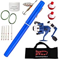 Hunting Hobby World's Mini Fishing Pen Rod, Ready to Use, Pocket Metal, Pole, with Spinning Reel