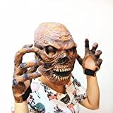 FAMI Halloween Latex Skull Head Mask with 1 Pair Ghost Claw Gloves
