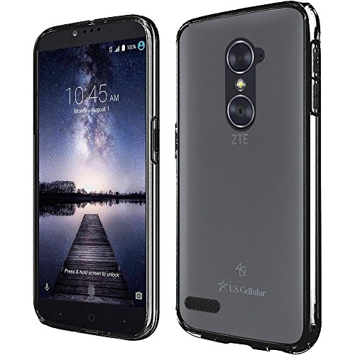 Black Rubberized Plastic Case (ZTE Zmax Pro Case, Bastex Rugged Slim Fit Shockproof Rubberized Plastic Crystal Clear Back Panel Flexible Black Bumper TPU Case Cover for ZTE Zmax)