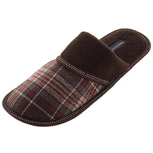 perry-ellis-portfolio-mens-8-13-brown-plaid-slip-on-slippers-l-95-105