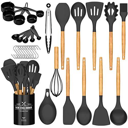 Umite Chef Kitchen Cooking Utensils Set, 24 pcs Non-stick Silicone Cooking Kitchen Utensils Spatula Set with Holder, Wooden Handle Heat Resistant Silicone Kitchen Gadgets Utensil Set (Black Gray)