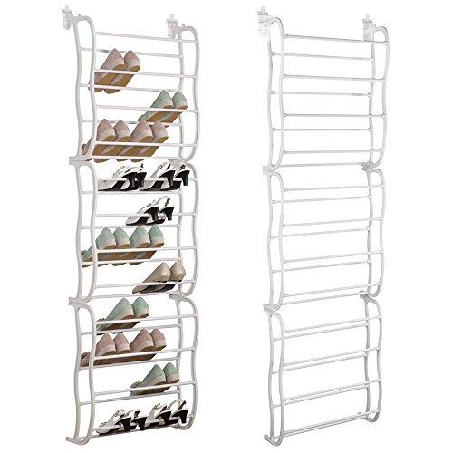 YuRen 36 Pair Over the Door Shoe Rack Organizer- White. by YuRen