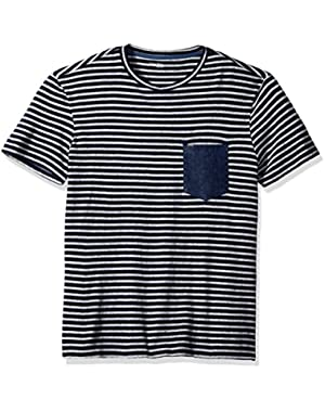Calvin Klein Jeans Men's Short Sleeve Stripe Crew Neck T-Shirt with Denim Pocket