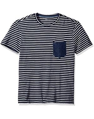 Calvin Klein Jeans Men's Short Sleeve Stripe Crew Neck T-Shirt with Denim Pocket