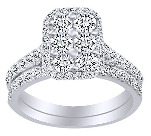 (1.25 Cttw) Round Cut White Natural Diamond Rectangular Cluster Bridal Ring Set In 14k White Gold With Ring Size 4 - Rectangular Diamond Set