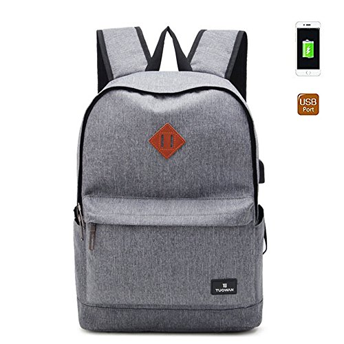 Travel Outdoor Computer Backpack Laptop Bag (Grey) - 4