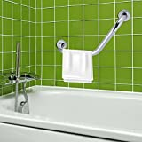 Bathroom Grab Bar, Stainless Steel Arm Safety Handle with Curved Safe-Grip Shower Grab Bar for the Elderly in the Bathroom