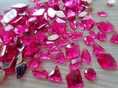 300pcs Mixed Shape Size Rose Red Crystal Sew on Rhinestones Acryl Loose Beads Hand Sewing Strass ()