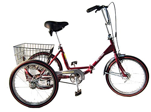 Worksman Port-O-Trike, Single Speed Adult Tricycle, Cranberry