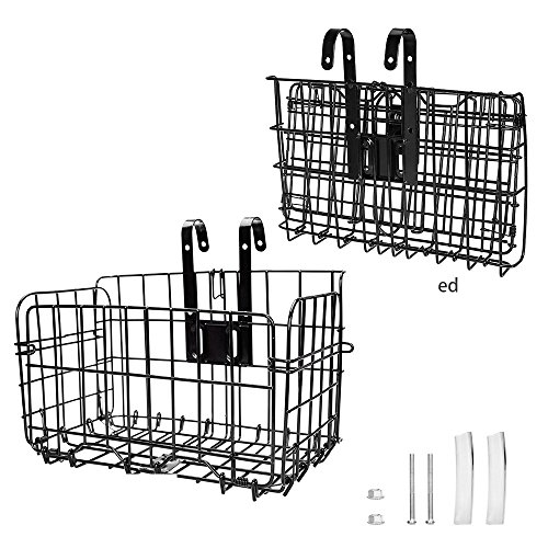 Arltb Lift Off Folding Bike Basket Rust Proof Easy Installation on Front Handlebar & Rear Seat Capacity 44lbs Suitable Folding Bikes Some Mountain Bikes - Black/Silver ()
