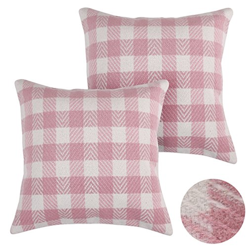 rt Tartan Plaid Pillow Cover Hand Made Throw Cushion Cover With Invisible Zipper For Sofa 18x18 Inch Pink and White Set of 2 (Stewart Plaid Cover)