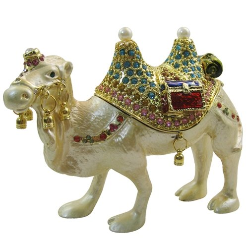 Jeweled Camel - [NEW] Jewelry Trinket Box Figurine Case Vintage Collectible for Keepsake Art Decor Holder Organizer Pill Box - Magnet Storage, Jeweled w/ Swarovski Crystals ( Animals / Vehicles ) (Camel - Standing)