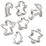 Christmas Cookie Cutter Set - 7 Piece - Snowflake, Star, Christmas Tree, Gingerbread Man, Angel, Leaping Reindeer and Candy Cane - Ann Clark - US Tin Plated Steel