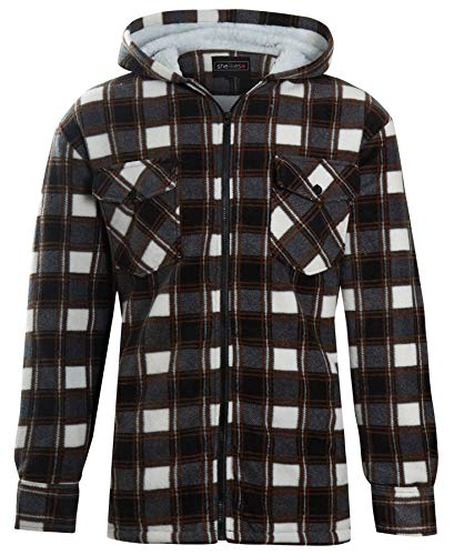 Men Flannel Thermal - Unisex Mens Fleece Sherpa Fur Lined Lumberjack Hood Check Quilted Thermal Shirt [Brown (Hooded) XXL ]