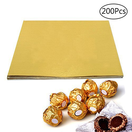 BAKHUK 200pcs 4'' Square Gold Aluminium Foil Paper Candy Wrappers Chocolate Wrappers for Packaging Candies and Chocolate by BAKHUK