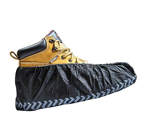 Black Industrial Disposable Shoe Covers for Men and Women Premium Thickness Workman Booties Extra Large 100 Pack ()