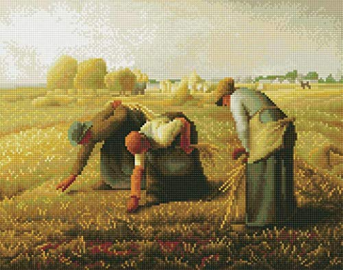 5D DIY Diamond Painting Full Crystal Square Drill Diamond Painting The Gleaners by Jean-Francois Millet, Home Wall Decor for Living Room (17-by-21 inches)