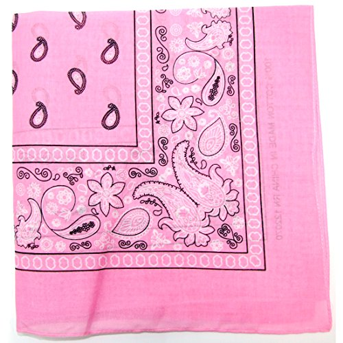Paisley One Dozen Cowboy Bandanas (Light Pink, 22