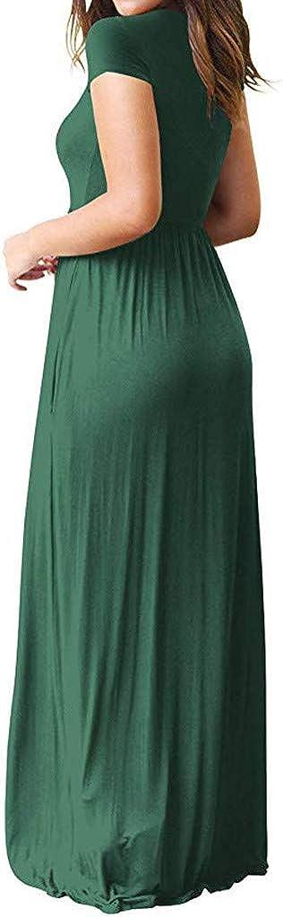 Oasisocean Womens Casual Loose Pocket Long Dress V Neck Short Sleeve Split Maxi Dresses with Pockets