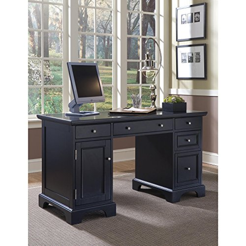 Modern Transitional Black Wood Pedestal Executive Writing Desk with 2 Utility and 1 File Drawer - Includes Modhaus Living Pen - Executive 2 Drawer