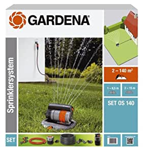 Gardena 8221-20 - Set completo de sistema de aspersor cuadrado emergente OS 140 sistema de riego para superficies cuadradas y rectangulares hasta ...