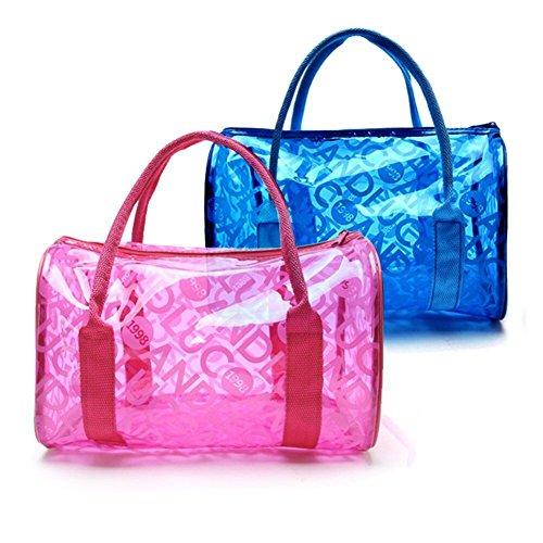 Comestique Femme PVC 2en1 à Main Sac à Sac Multipurpose Claire Floral Gelée Transparent Bandoulière Noir TININNA étanche Bleu O0Yqww
