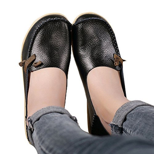Lucksender Womens Soft Leather Comfort Driving Loafers Shoes 8B(M)US Black