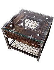 CHYRKA® Woonkamertafel salontafel massief hout metaal glazen tafel hout glas HALICZ Loft handgemaakt (56 x 56 cm H=50 cm, natuur)