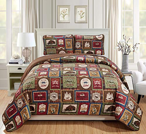 - Rugs 4 Less Southwestern Great Outdoors Wilderness Cabin Lodge and Lakehouse 3-Piece Quilt Bedding Set with Plaid Patterns and Outdoor Destination Signs Quilted Bedspread (King/Cal-King - Lodge)